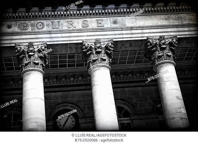 Bourse of Paris, classical building with Corinthian columns, Paris, France