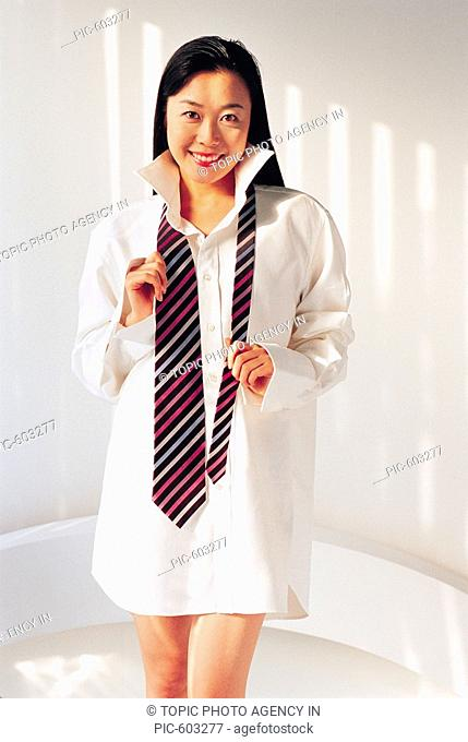 Young Woman Wearing Man's Shirt,Korean