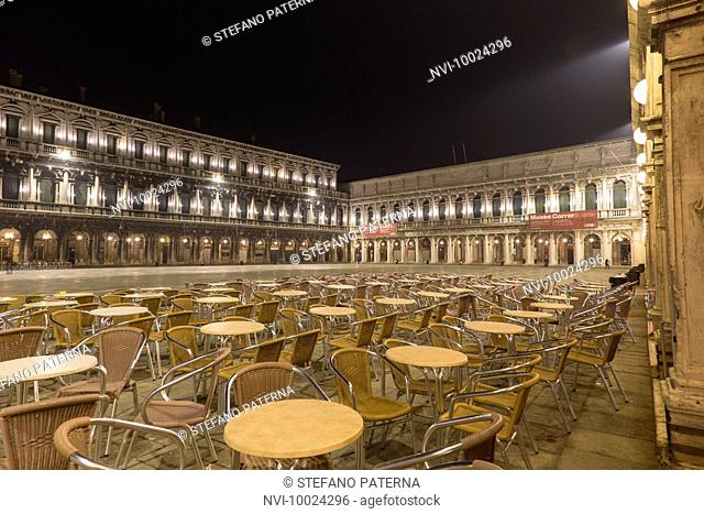 St. Mark's Square and the arcades of the Procuratie Vecchie, Venice, Italy