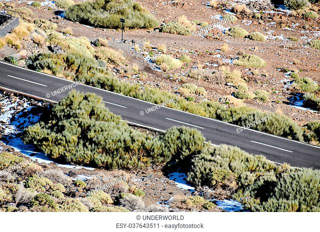 Aerial View of an Asphalt Road in the Canary Islands