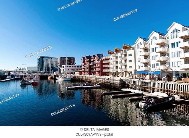 Row of waterfront apartments, Svolvaer, Lofoten Islands, Norway