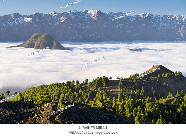 Parque Natural Cumbre Vieja, in the background the Caldera de Taburiente, island La Palma, Canary islands, Spain