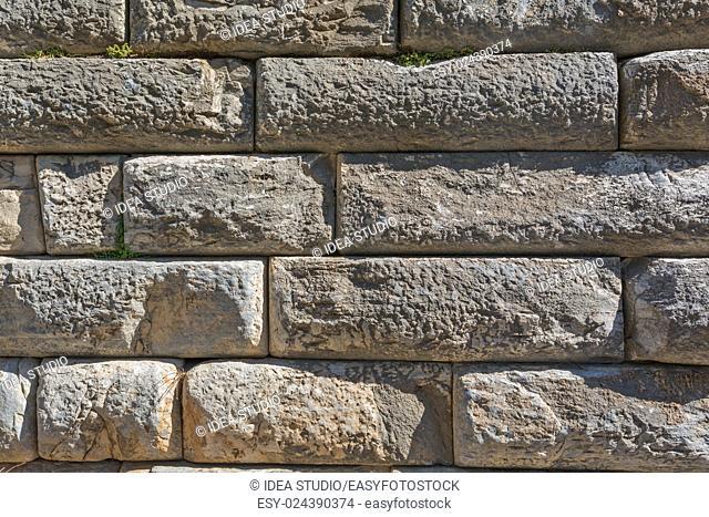 Natural ancient brick and stone wall texture