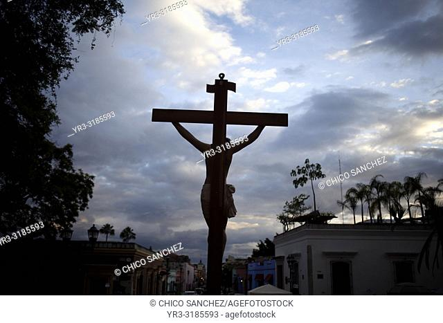 An image of Jesus Christ crucified is displayed during a rosary outside the Templo de Santo Domingo church in Oaxaca, Mexico