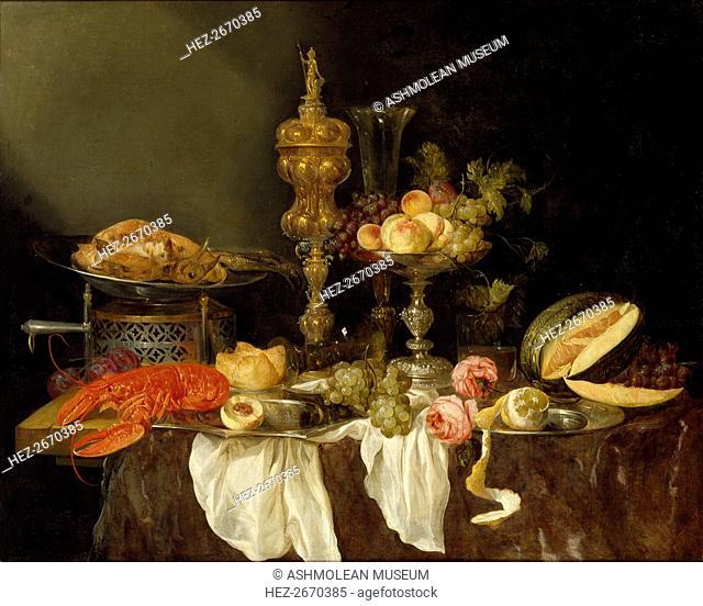 Still Life with a Lobster and Turkey, c1653. Artist: Abraham van Beyeren
