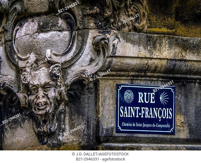 France, Nuvelle Aquitaine, Gironde, Rue Saint François, Saint Michel area at Bordeaux. Pilgrimage way to Santiago de Compostela