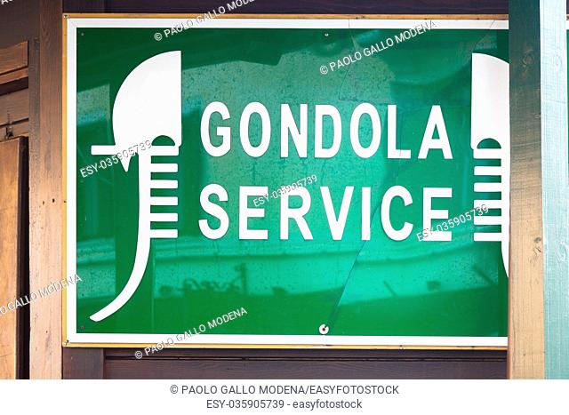 Famous landmark of gondola service in Venice - generic sign, no trademark