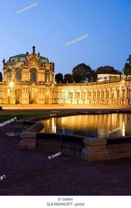 Zwinger illuminated at night, Dresden, Germany