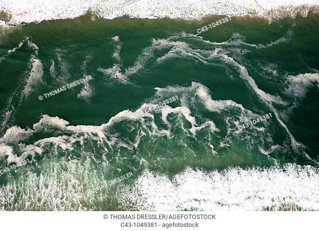 Namibia - The waves of the Atlantic Ocean break at the desert coast south of Walvis Bay  Aerial view  Namib-Naukluft Park, Namibia