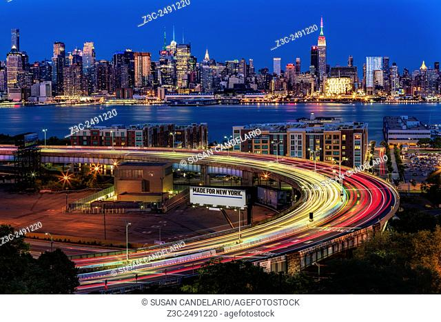 Lincoln Tunnel Helix and NYC Skyline - Upper view to the Lincoln Tunnel Helix, located in Weehawken, New Jersey and the Midtown Manhattan New York City Skyline...