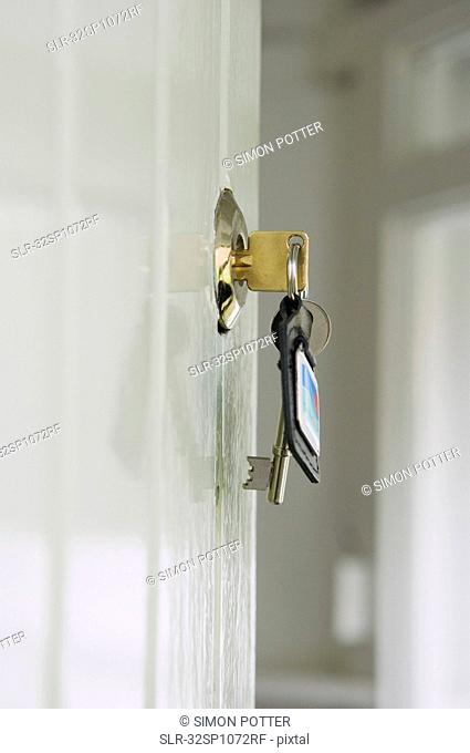 Keys in lock of front door