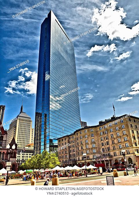 Back Bay district of Boston. Massachusetts. Fairmont Copley Plaza at right. 200 Clarendon building formerly known as the John Hancock Tower is center