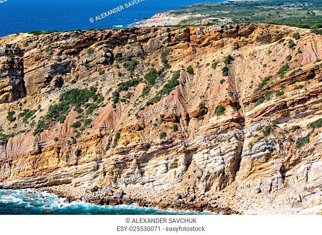 Rocky Beach and Sandstone Cliffs, Sesimbra, Portugal