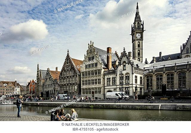 River Leie with promenade at the Graslei, old guild houses and old post office, Old Town, Ghent, Belgium