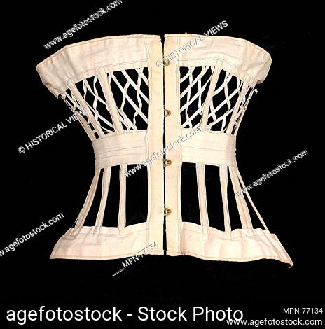 Corset. Designer: Madame J. H. (Johan Adolph) Rutherford; Date: ca. 1876; Culture: American; Medium: Cotton, metal, bone; Credit Line: Brooklyn Museum Costume...