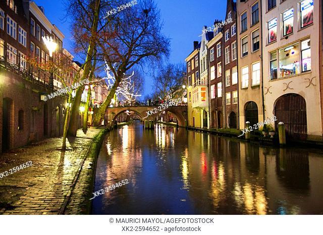Path along the Oudegracht canal, Utrecht, The Netherlands