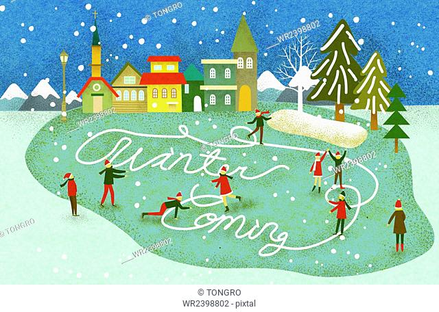 Vintage background of Christmas with message of Winter Coming