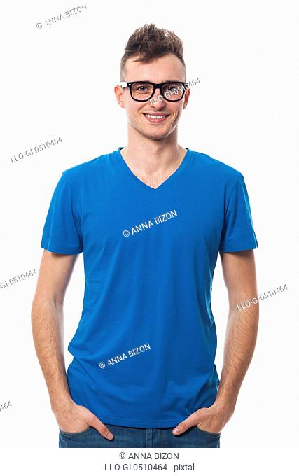 Portrait of smiling young man wearing fashion glasses. Debica, Poland