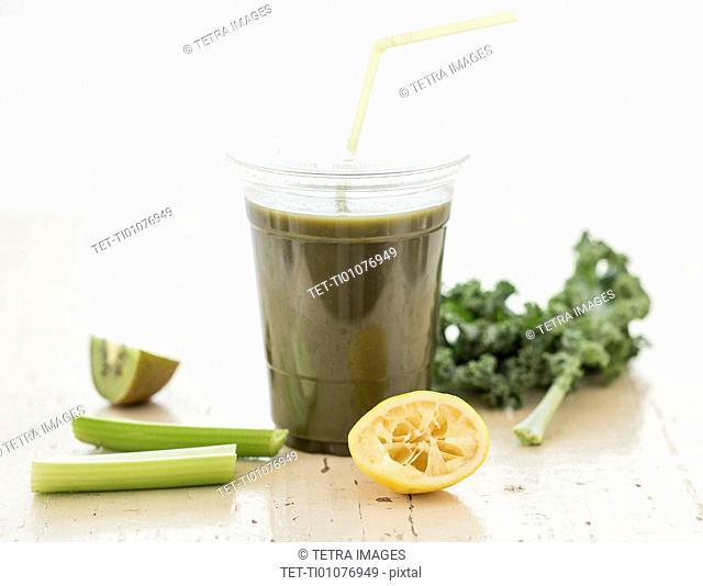 Studio shot of kale and celery juice