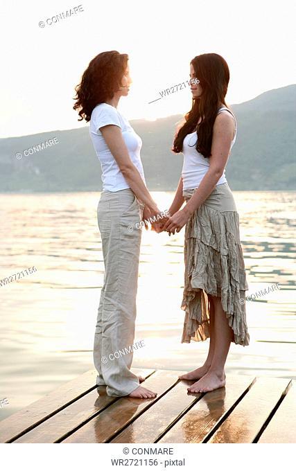 portrait, women, tender, love, jetty, lake, homose