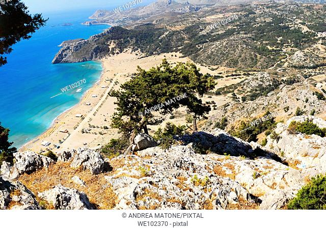 Tsampika beach and the mountain inland from above Island of Rhodes Greece