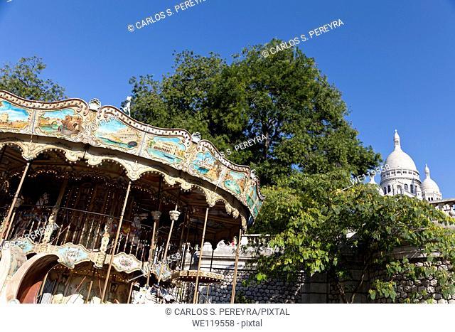 Basilica of the Sacred Heart, Sacré-Coeur Basilica, Montmartre district, Paris, France, Europe