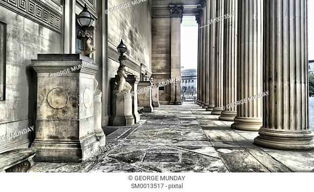 neoclassical Columns and Portico, St George's Hall, . Liverpool, Merseyside, England