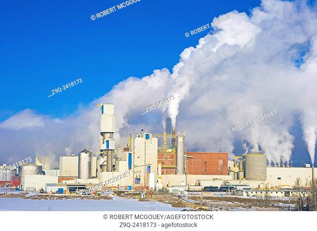 This image of a working pulp mill was captured in the foothills of the Rocky Mountains in Hinton Alberta, Canada
