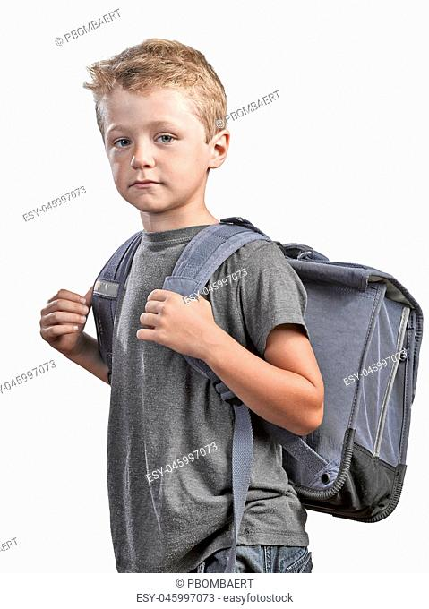 Back to shool concept, young boy with back bag isolated on white