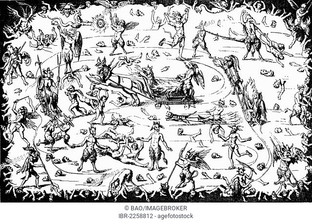 The torments of hell, the icy hell, copper engraving from the 16th century