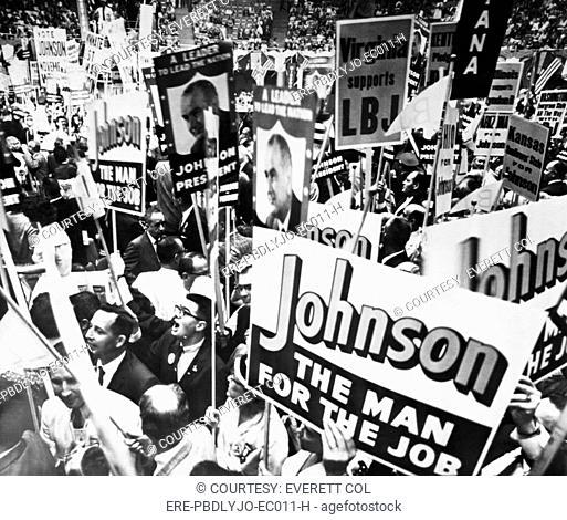 Lyndon Johnson. Delegates supporting US Senator and future US President Lyndon Johnson rally as US Speaker of the House Sam Rayburn nominates him as a...