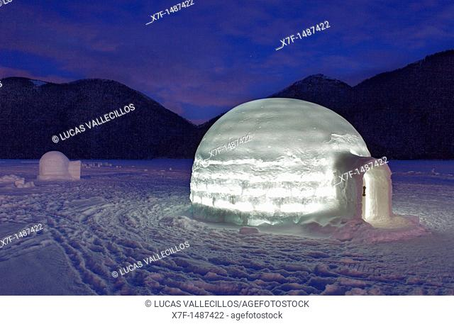 Igloo Village on Shikaribetsu frozen lake,Snow Water surface ,Shikaribetsu, Hokkaido, Japan