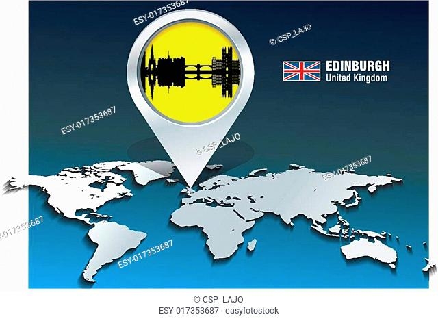 Map pin with Edinburgh skyline