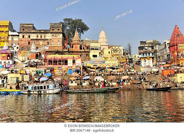 Boats and ghats on the Ganges River, Varanasi, Benares, Uttar Pradesh, India, South Asia