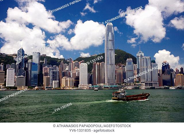 CHINA HONG KONG HONG KONG COASTLINE VICTORIA HARBOUR View of Hong Kong's sea frontline with the famous skyscrapers shoot on a bright day with blue sky and white...