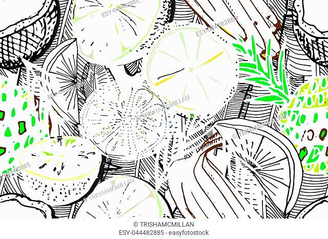 Tropical seamless pattern. Ripe juice fruits. Hand drawn vector background