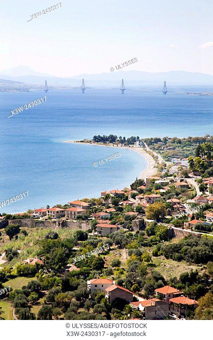 Gulf of Corinth, Nafpaktos village and view of the bridge Rio-Antirrio, Sterea Hellas, Greece, Europe