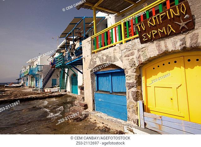 Houses on the Klima village, Milos, Cyclades Islands, Greek Islands, Greece, Europe
