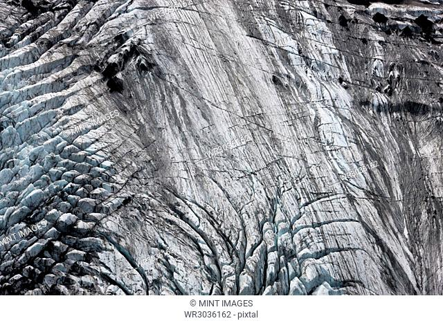 Aerial view of landscape with glacier and volcanic ash