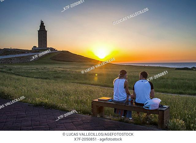 Tower of Hercules, Roman lighthouse, from Paseo de los Menhires, Coruña city, Galicia, Spain