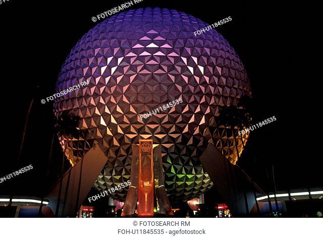 Disney World, Orlando, FL, Epcot, Lake Buena Vista, Florida, Spaceship Earth in Epcot Center illuminated at night at Walt Disney World in Lake Buena Vista