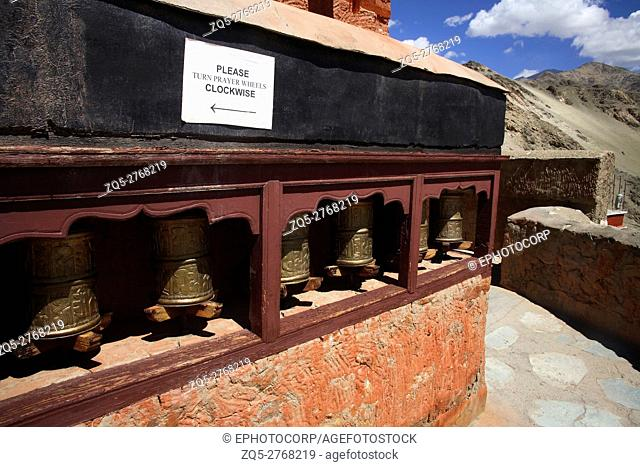 Prayer wheels of thiksey gompa, Ladakh, Jammu and Kashmir, India