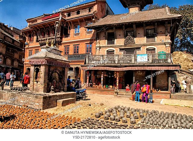 Pottery market, objects drying in the sun. Bhaktapur. Kathmandu Valley, Nepal, Asia