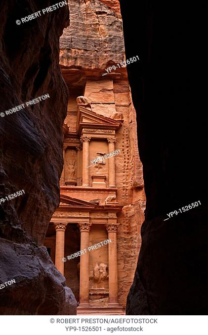 A glimpse of Al Khazneh, the Treasury, from the Siq, Petra, Jordan