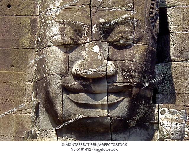 Stone face tower at Bayon temple, Cambodia