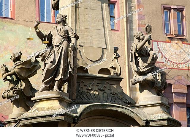 Germany, Bavaria, Franconia , W¸rzburg, Fountain in front of old townhall, lclose-up