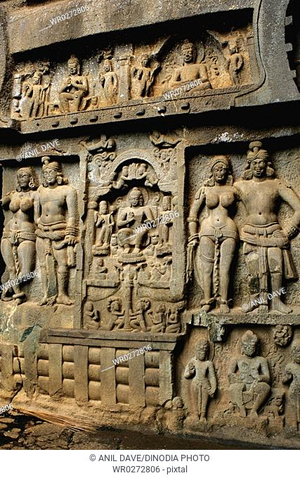 Carved wall in Karla caves in 2nd century B.C. , Lonavala , Maharashtra , India