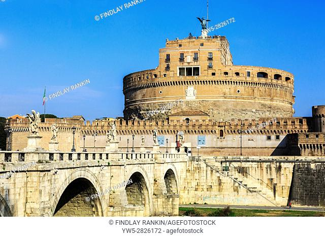 Castel Sant Angelo, with the bridge Pont Sant Angelo across the River Tiber in Parco Adriano district, Rome, Italy