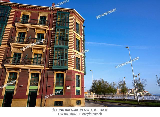 Gijon city facades of Asturias in Spain