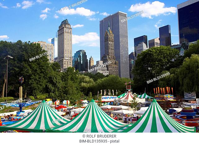 Tents and fair in urban park